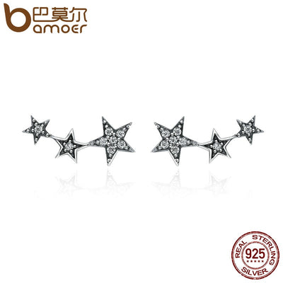 BAMOER Authentic 925 Sterling Silver Sparkling CZ Exquisite Stackable Star Stud Earrings for Women Jewelry Christmas Gift SCE175
