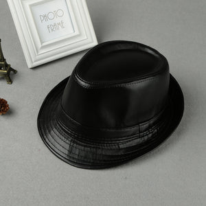Unisex Women Men Fedora Hat PU Leather Formal Vintage Jazz Hat Bucket Cap Black