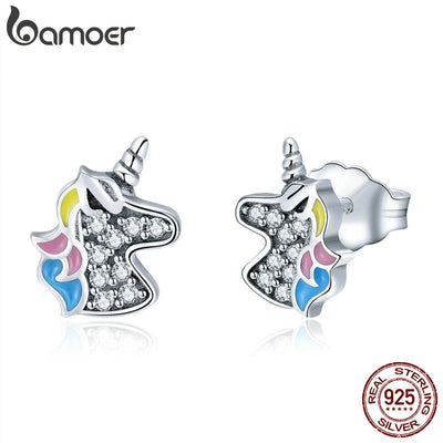 BAMOER SALE 2018 925 Sterling Silver Dazzling Licorne Memory Stud Earrings for Women & Girls Sterling-Silver-Jewelry SCE426