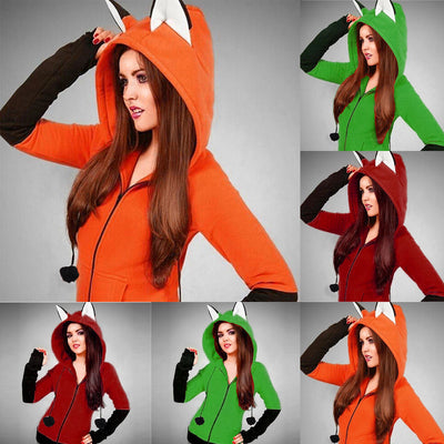 Winter and Autumn Fox Ears Hoodie Sweatshirts For Women