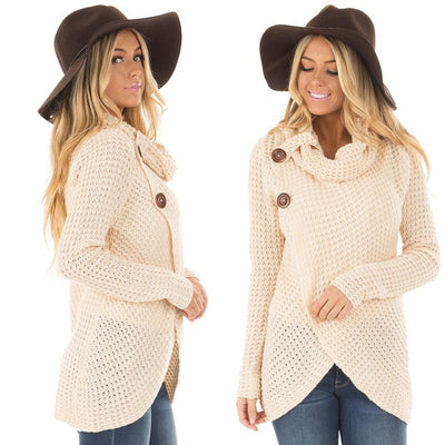O-Neck Knitted Long Sleeve Sweater Solid Girl Winter Women's Pullover