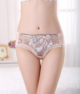 High Quality Womens Lace Panties Peony Embroidered Triangle Underwear