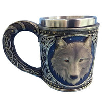 Ezeso Resin 3D Wolf Stainless Coffee Tea Beer Travel Mug