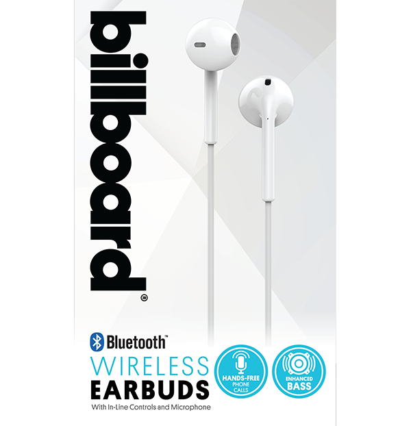 Billboard Bluetooth Wireless Earbuds with Built-In Microphone - White