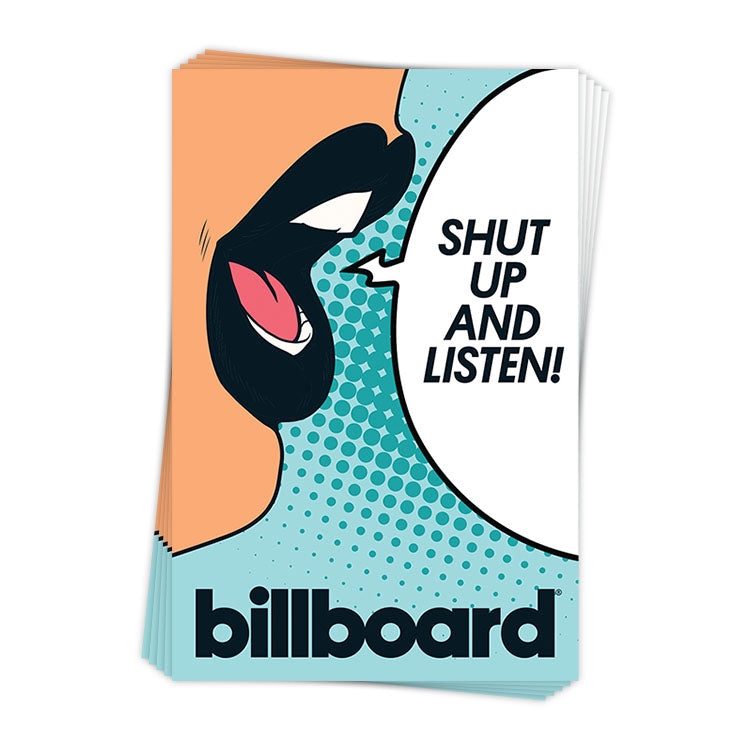 Retro Shut Up and Listen - Sticker