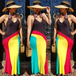 Rasta Spaghetti Strap Sleeveless Maxi Dress