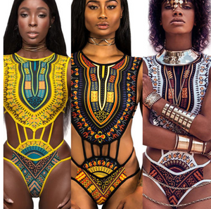 African Print Laced Up One Piece Swimsuit