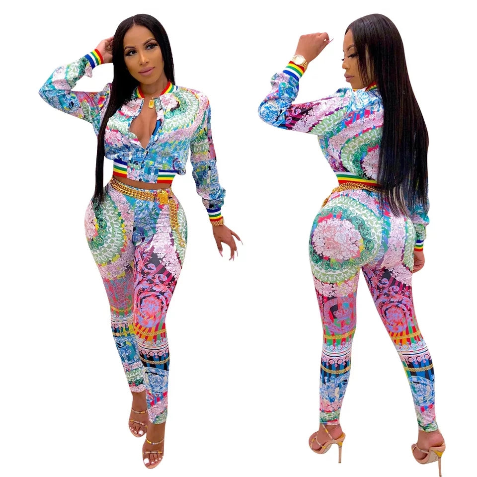 Women's Long Sleeve Zipper Top and Pants Set