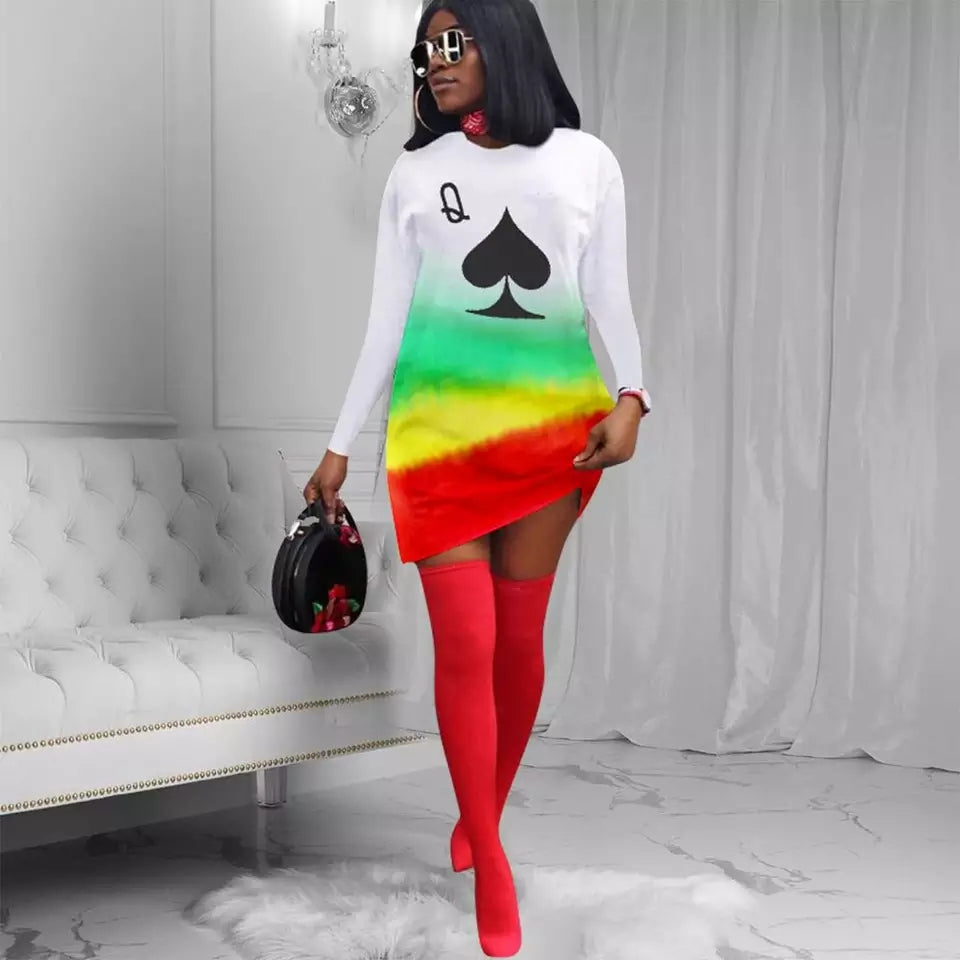 Rasta Color A-line Long Sleeve Mini Dress