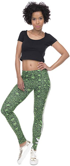 Weed White Stripes Stretch Leggings