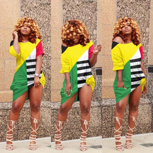 Women Rasta Color Patchwork T-Shirt Dress