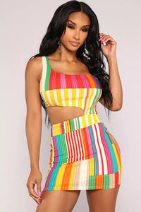 Women Casual Striped Hollow Out Mini Dress