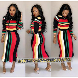 Women Full Sleeve Striped Midi Dress