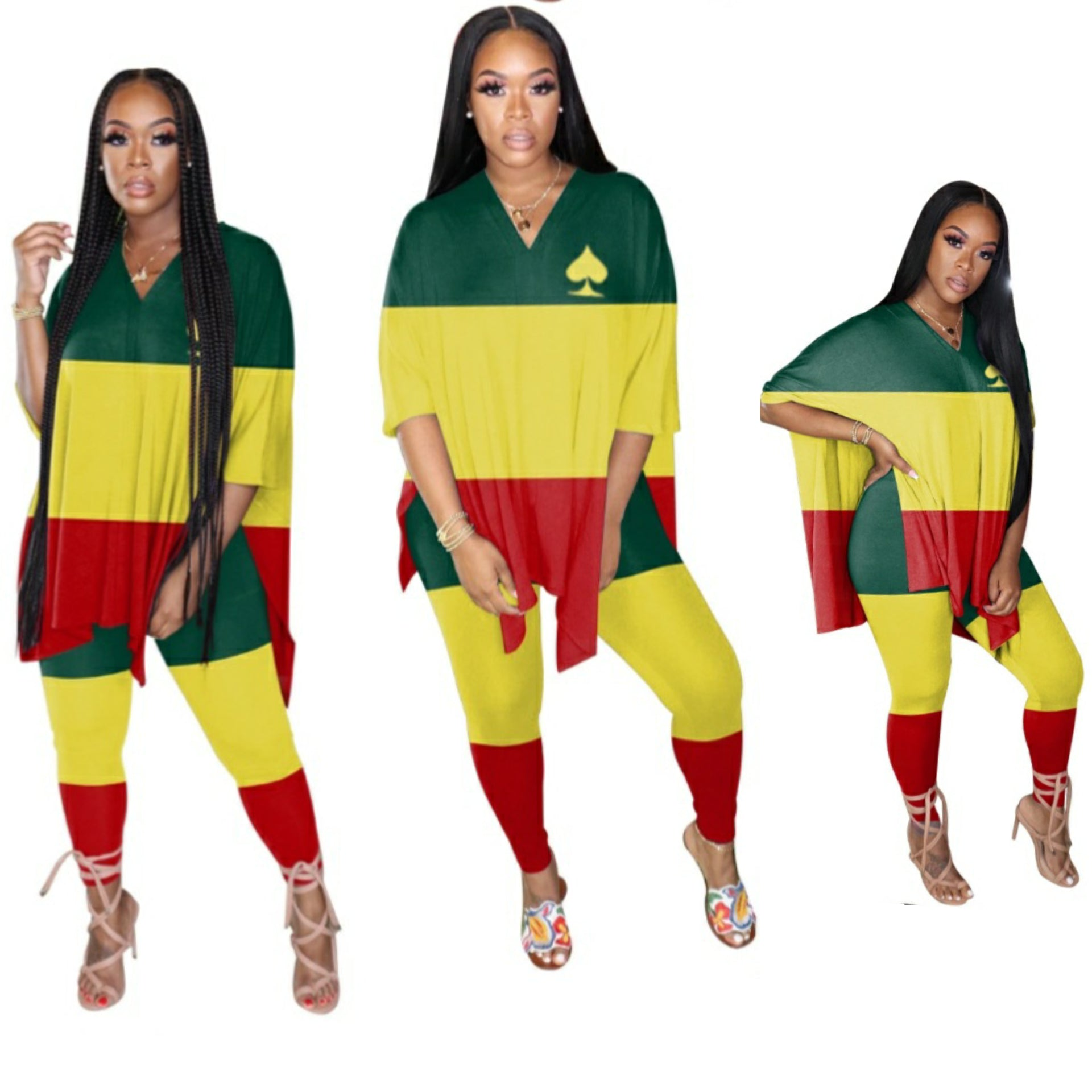 Rasta V-neck Batwing Sleeve Two Piece Set