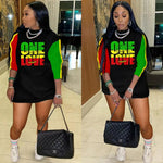 Rasta One Love Long Sleeve Mini Dress