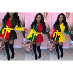 Rasta Color Pleated Blazer Mini Dress