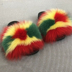 Rasta Colors Fox Fur Fluffy Slippers