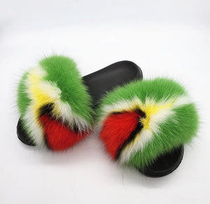 Guyana Flag Fox Fur Furry Slippers