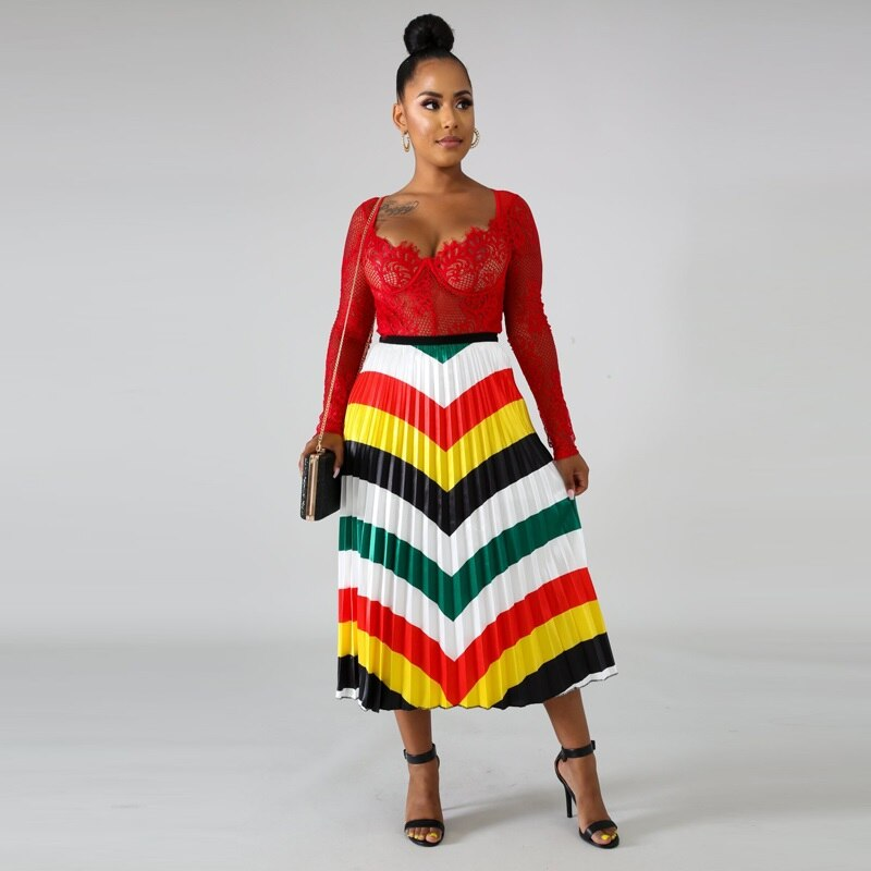 Women's High Waist Pleated Midi Skirt