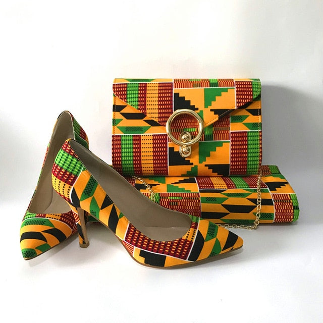African Print High Heels and Bag Set