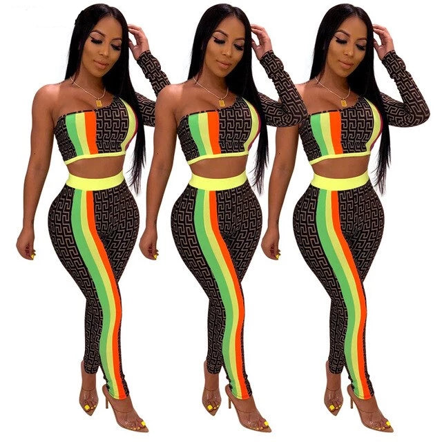 Rasta Stripe One Shoulder Top and Pants Set