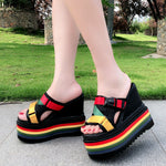Rasta Colors Super High Wedge Sandals