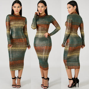 Gradient Striped Long Sleeve Bodycon Dress