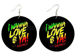 I Wanna Love YA Bob Marley Wooden Earrings