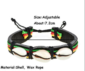 Rasta Leather Shell Bracelet