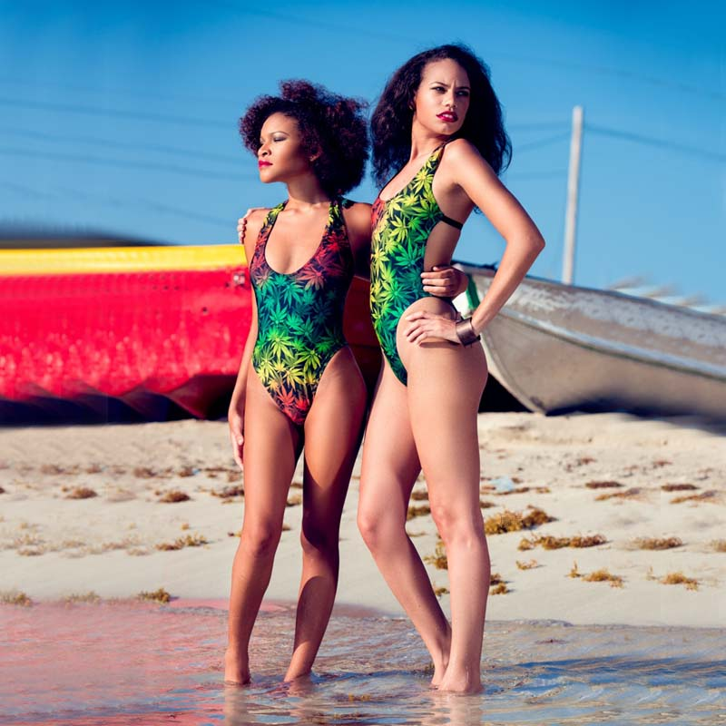 Rasta Weed Leaf One Piece Swimsuit