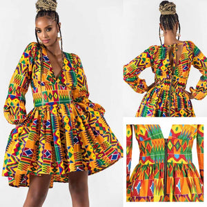 African Dashiki Lantern Sleeve Mini Dress