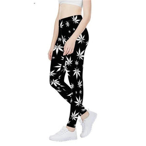 Women Weed Leaf Leggings