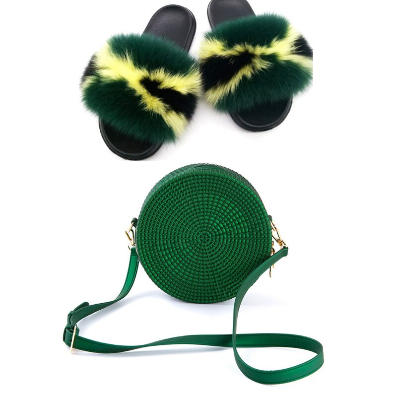 Jamaica Fox Fur Slippers and Jelly Bag Set