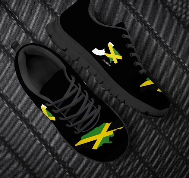 Jamaica Flag Map Lace Up Sneakers