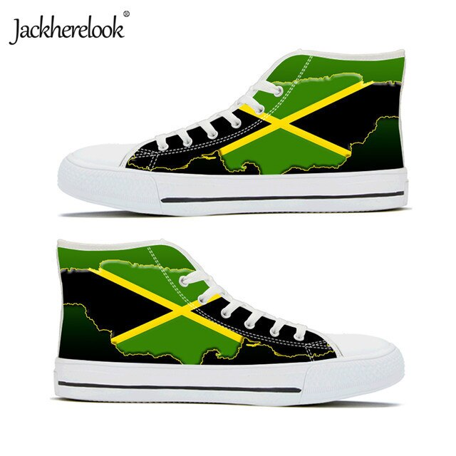Jamaica Flag map High Top Canvas Shoes