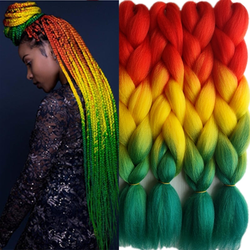 Rasta Color Synthetic Jumbo Braiding Hair Extension  24""