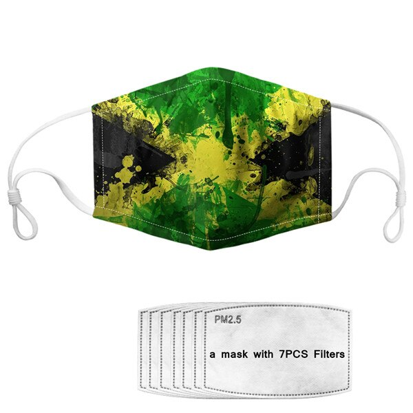 Rasta Weed Leaf Protective Mask with 7 Filters