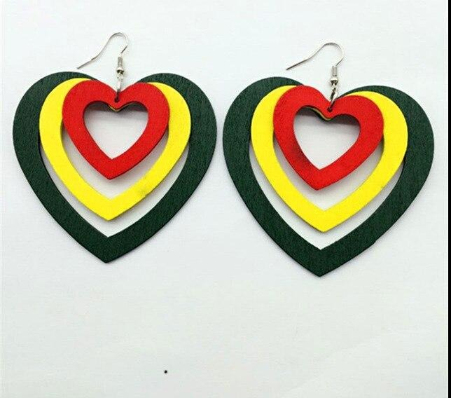 Rasta Color Wooden Earrings