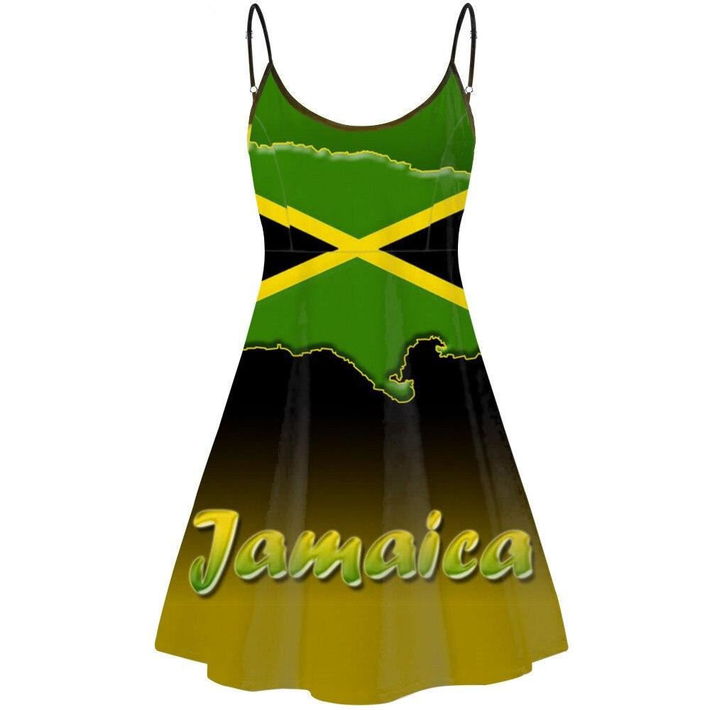 Jamaica Flag Spaghetti Strap Mini Dress