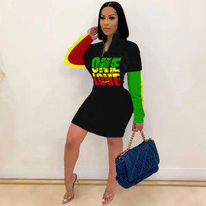 Rasta One Love Long Sleeve Zipper up Midi Dress