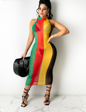 Rasta Bodycon See-through Midi Dress