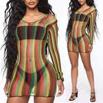 Rasta Long Sleeve Fishnet Cover Up Dress