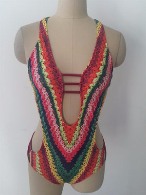 One Piece V neck Knitted Swimsuit