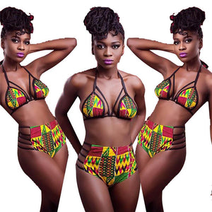 African Print Padded Push-up Bikini Set