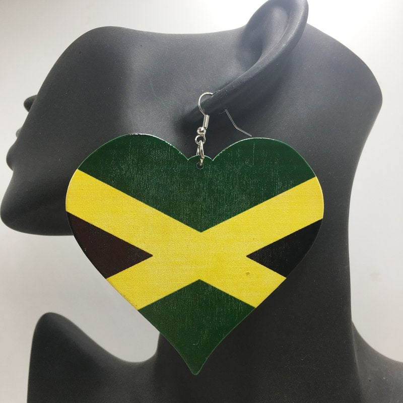 Jamaica Flag Heart Wooden Earrings