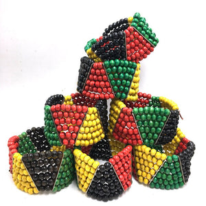 6pcs/lot Rasta Wooden Bead Bracelets