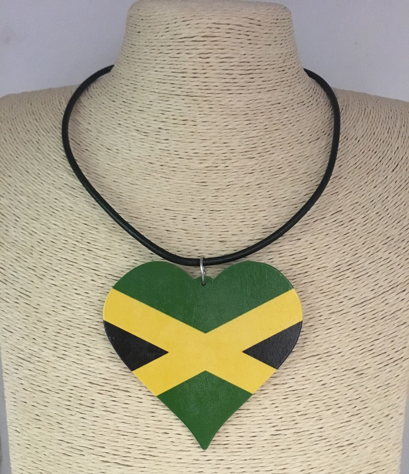 Jamaica Flag Heart  Wooden Pendant Necklace