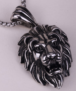 Lion Head Stainless Steel Pendant Necklace