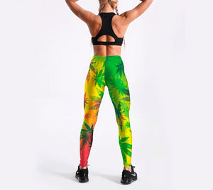 Women High Waist Weed Leaf Leggings
