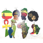10pair/lots Mixed Styles Rasta African Wooden Earrings